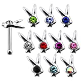 20 Pieces Mix Color Jeweled Bunny Head 925 Sterling Silver Nose Pin Ball End 20Gx1/4 (0.8x6MM). Pack in Acrylic Box.
