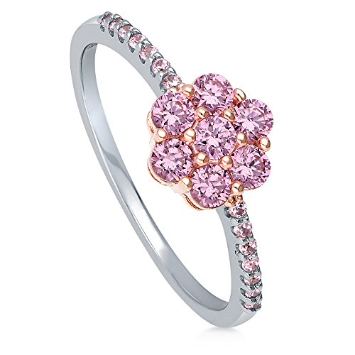 BERRICLE Rhodium Plated Sterling Silver Pink Cubic Zirconia CZ Flower Promise Fashion Ring Size 7