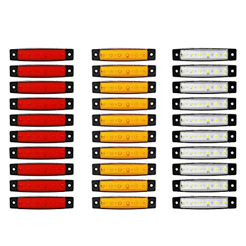 (Pack of 20) LEDVillage 10 pcs Amber + 10 pcs Red 3.8