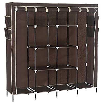 WOLTU Portable Clothes Closet Wardrobe Storage Cloth Organizer Fabric Steel Shoe Rack 10 Shelves with 12 Side Pockets