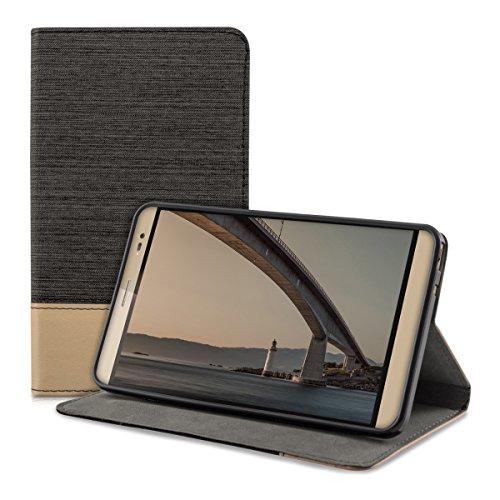 kwmobile Canvas Hülle für Huawei MediaPad X2 7.0 mit Ständer - Leinen Tablet Case Cover Tasche Schutzhülle in Schwarz Braun