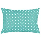 Toddler Pillowcase by Dreamtown Kids. 100% Cotton. Turquoise Polka DOT