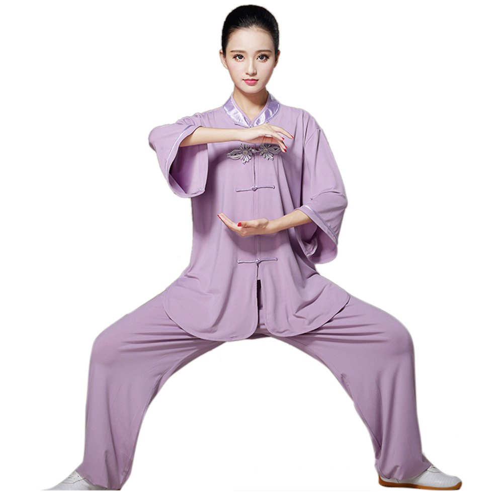 ZooBoo Women's Chinese Traditional Tai Chi Uniform Short Sleeves Morning Exercises Kung Fu Clothing (L, Purple) by ZooBoo