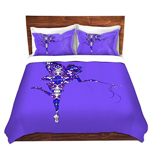 DiaNoche Designs Fairy Dance Blue Periwinkle Cover, 8 King Duvet Sham Set by DiaNoche Designs