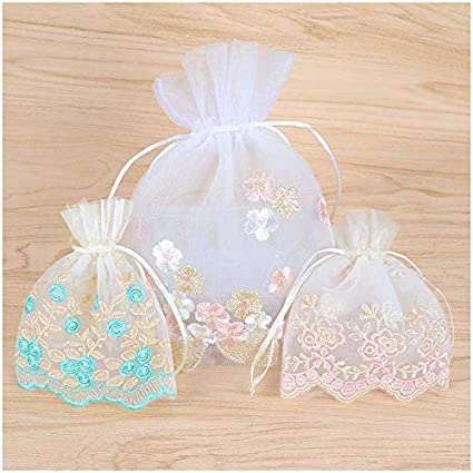 VU100 Organza Bags Drawstring Gift Bags Premium Floral Lace Small Storage Mesh Bags for  sc 1 st  Amazon.com & Amazon.com: VU100 Organza Bags Drawstring Gift Bags Premium Floral ...