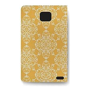 Leather Folio Phone Case For Samsung Galaxy S2 Leather Folio - Mustard Retro Damask Folio Soft wangjiang maoyi