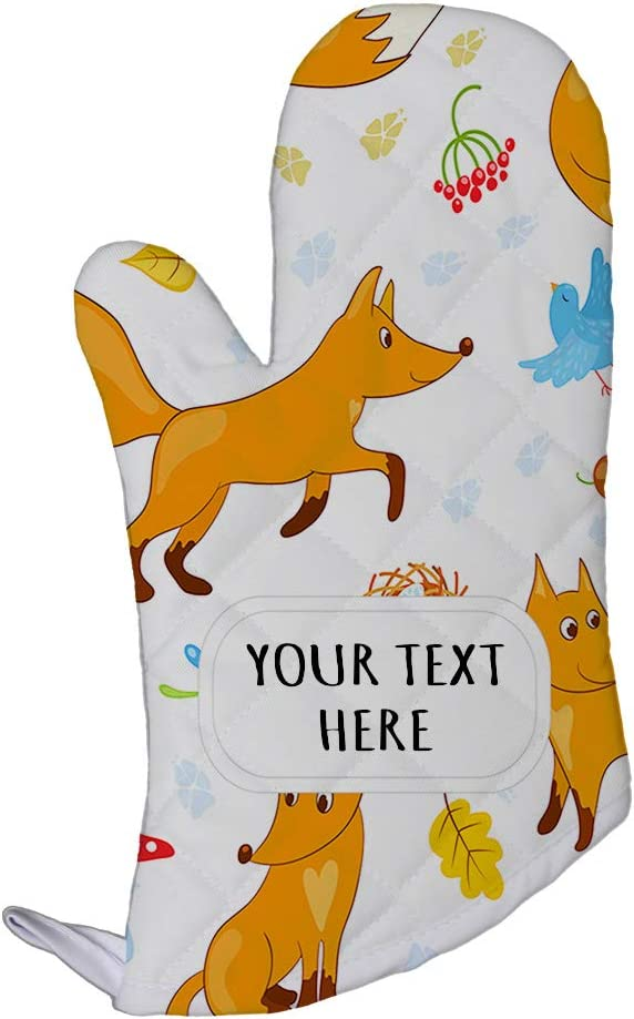 Polyester Oven Mitt Custom Funny Foxes Seemless Pattern Adults Kitchen Mittens