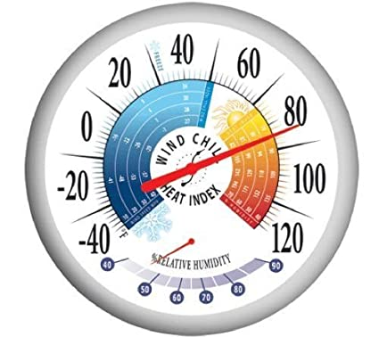 Springfield 90078 Round 13.25inch Outdoor Thermometer with Wind Chill-Heat Index