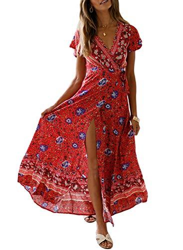 Dearlove Womens Summer Bohemian Print Wrap V Neck Split Beach Casual Maxi Dresses
