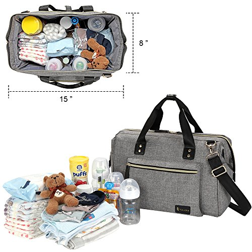 6494f33747cc Amazon.com   Diaper Bag, RUVALINO Large Diaper Tote Stylish for Mom and Dad  Convertible Travel Baby Bag for Boys and Girls with Changing Pad, ...