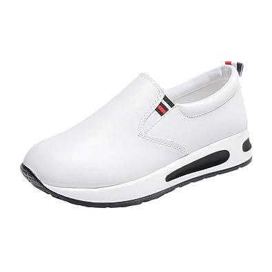 2fc7047b22eb4 Tennis Compensees en Cuir Femme,Overdose Baskets Automne Hiver Chaussures  Plates à Enfiler sans Lacets