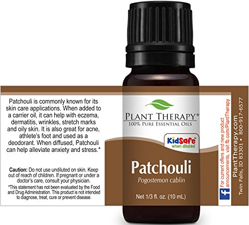 Plant Therapy Patchouli Essential Oil. 100% Pure, Undiluted, Therapeutic Grade. 10 mL (1/3 Ounce).