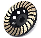 4 inch Double Layer Segment Diamond Cup Wheel with 5/8-11 Thread Grits 100 for Granite Marble Concrete Grinding Wet or Dry