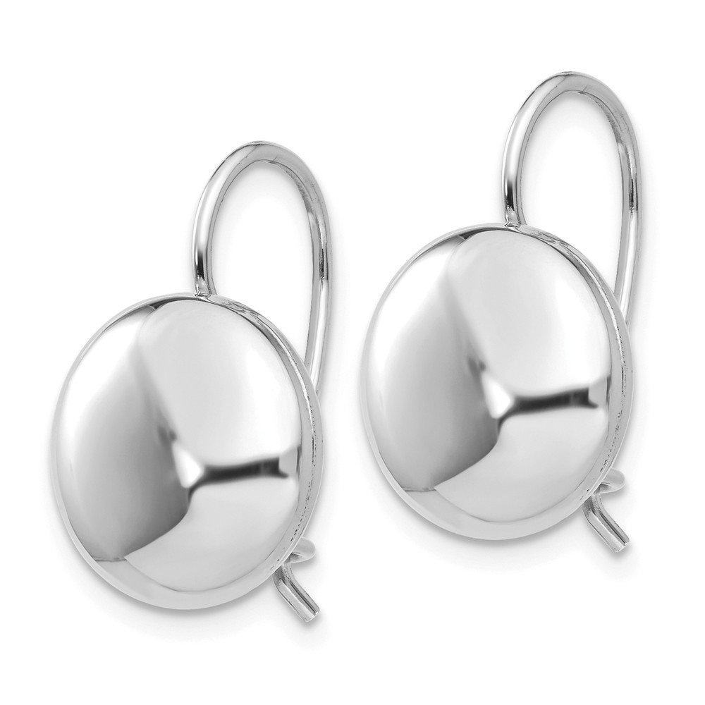FB Jewels Solid 14K White Gold Polished 12mm Button Kidney Wire Earrings