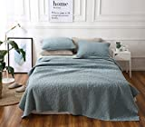 Cozyholy 3-Pieces Quilts Set Quilted Coverlet Origenal Design Pathwork Bedspreads 100% Cotton Bed Cover (Blue, 200x230cm for Full/Queen Bed)