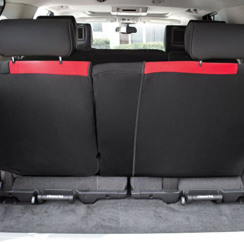 FH Group FB039013RED Red FB039RED013 Multifunctional Cloth Split Seat (Full Coverage Car Bench Backrest is Covered on All Sides)