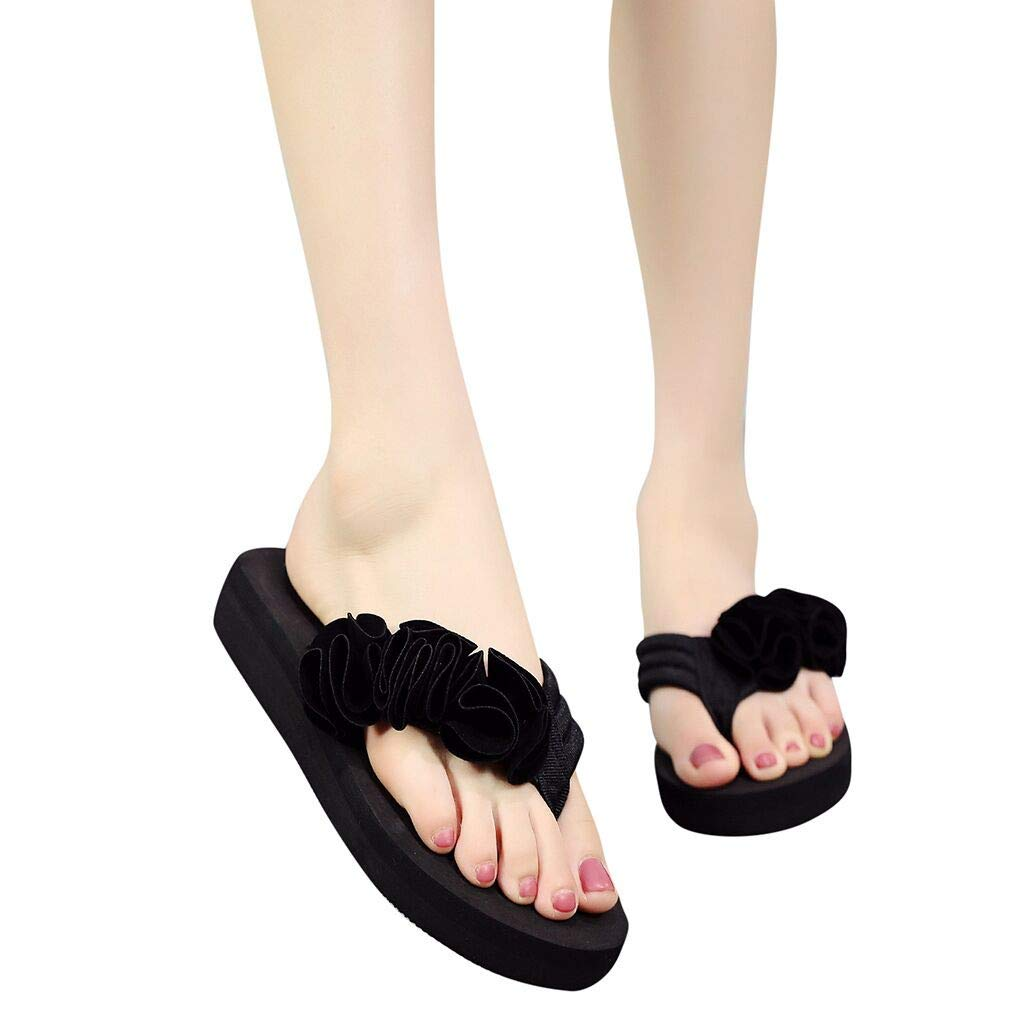 Frunalte Women Casual Shoes Summer Fashion Women's Flower Clip Toe Flip Flops Non-Slip Wedges Beach Slippers Black by Frunalte shoes (Image #2)