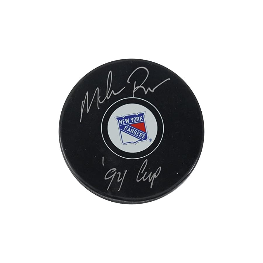 "Mike Richter Signed New York Rangers Puck w/""94 Cup"" Insc"