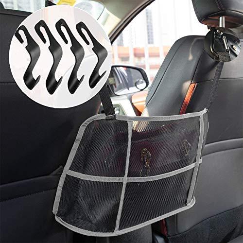[Upgraded Version] Car Net Handbag Holder, Car Purse Holder Between Seats with 4-Pack Car Black Seat Headrest Hook , Car…