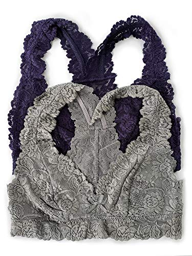 Caramel Cantina 2 Pack Lined Lace Racerback Bralette (Medium, Navy/Grey)