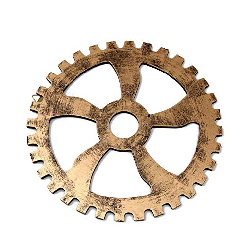 GNSN Wooden Steampunk Gear Vintage Industrial Wheel Wall Hanging Background for Bar Restaurante Bedroom Hotel Decoration (12.6in / 32cm, Gold)