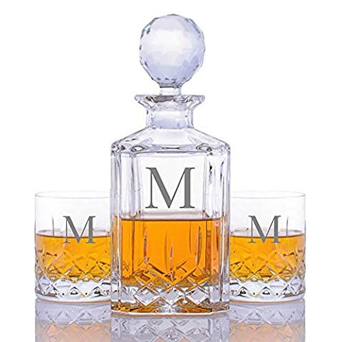 Custom Cut Crystal Whiskey Liquor Decanter and 2 Rocks Glasses by Crystalize Engraved & Monogrammed (Custom 3 Piece - Custom Crystal