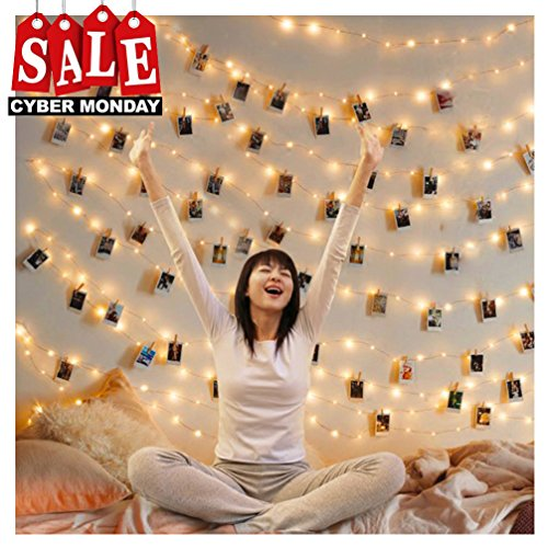Dolloly 50 LED Photo Clip Lights String Lights Battery Powered 17.1 Ft Wall Decoration Fairy Lights for Home/Party/Christmas Decor Hanging Photos Paintings Pictures Card and Memo