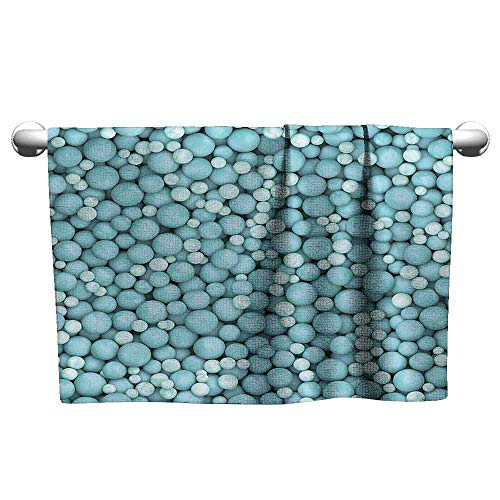 (duommhome Turquoise Decor Collection Water-Absorbing Bath Towel Ground Covered Marbles Pearls Balls Spheres in Different Sizes Artwork Print W12 x L35 Soft Blue Teal )