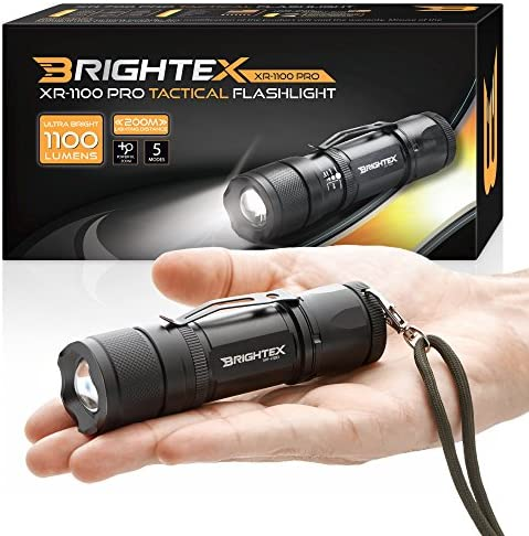 Brightex XR-1100 Pro Real UL Lab Tested 1100 Lumens Super Bright Small Tactical Flashlight US Made LED, Water Resistant, 5 Light Modes, Powerful X2000 Zoom Belt Clip