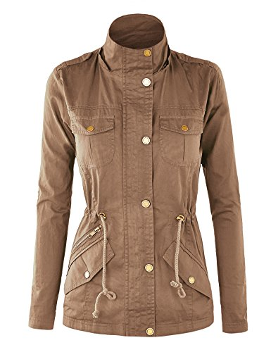 WJC643 Womens Pop Of Color Parka Jacket L Khaki by Lock and Love (Image #1)