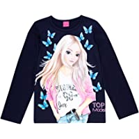 Top Model Niñas T-Shirt, Camisa de Manga Larga, Azul