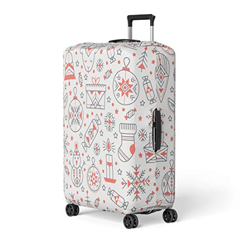 Pinbeam Luggage Cover Christmas Outlined Holiday and Winter Signs Black Red Travel Suitcase Cover Protector Baggage Case Fits 26-28 inches ()