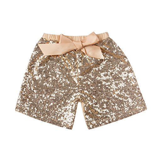 Toddler Girls Gold Sequin Shorts 5 Years Old Messy Code Baby Glitter Short Pants with Bow,Gold,XXL(4-5Y)