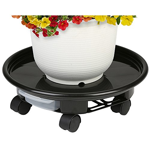 13 Inch Round Rolling Planter Caddy with 360 Degree Rotating Casters and Slide-Out Drip Tray by MyGift