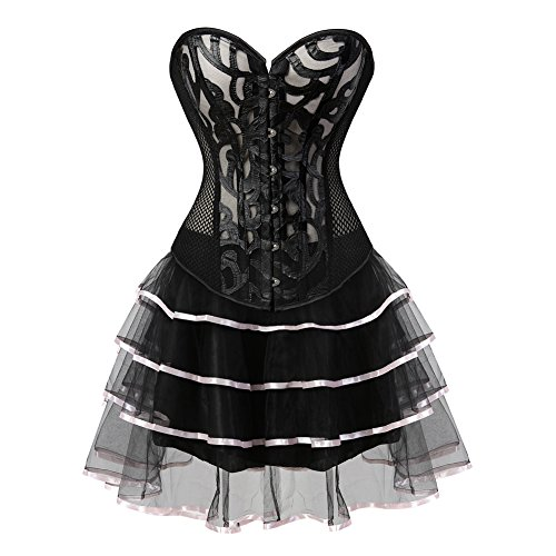 Grebrafan Damen Breathable Corset Party Kleid Corsage mit Tüllrock Rosa  SlT8oXGQ 6bda20d0be