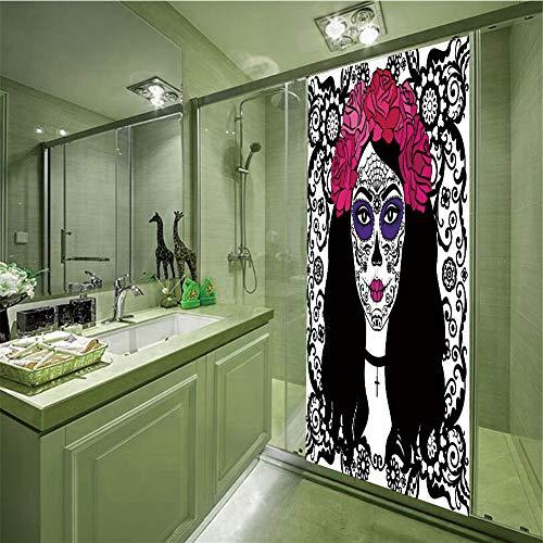 LIANDAYUNS sticker Decorative Privacy Glass Film,Sugar Skull Decor,Girl with Sugar Skull Make Up Dia De Los Muertos Traditional Art Decorative,Black White Pink,35.43