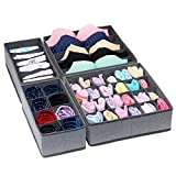 Onlyeasy Closet Underwear Organizer Drawer Divider, Set of 4 Foldable Cloth Storage Boxes Bins, Under Bed Organizer for Bras Socks Panties Ties, Linen-Like Gray, 7MXDSS4P