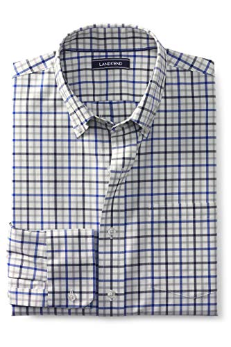 Lands' End Men's Traditional Fit No Iron Twill Shirt, M, Ivory/Mazarine Tattersall