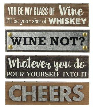 Assorted Wood Mini Bar Block Signs - Set of (Cheers Pub Sign)