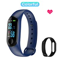 Fitness Band, Skyward Ecommerce Color Screen Activity Tracker with Free Replacement Strap, IP67 Waterproof Smart Watch with Heart Rate/Sleep Monitor, Blood Pressure/Oxygen, Sedentary Reminder, Step, Calorie Counter for Kids, Women and Men, Blue