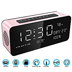 Soundance 12W Large Screen Digital Radio Alarm Clock Bluetooth Speaker with premium HD sound & LED display of time/date/temperature, 3.5mm Aux/Micro SD/TF/ USB Input Model A10 Rose color