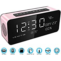Soundance Electric Digital LED Alarm Clock Wireless FM Radio Portable Bluetooth Speaker with USB Built-in Microphone for Bedroom Bedside Office Desk iPhone Android PC Laptop Desktop Computer, A10 Rose