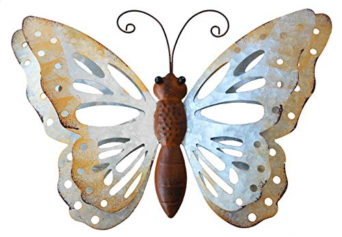 - ShabbyDecor Galvanized Metal Butterfly Wall Art Hanging for Outdoor or Indoor Decor