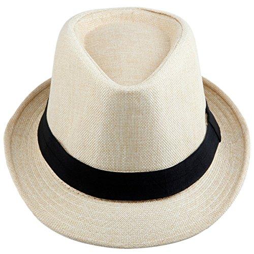 Samtree Fedora Hats for Women Men,Braid Straw Short Brim Panama Jazz Cap(01-Beige)