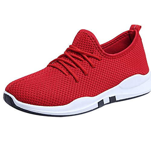 - ❤️ Mealeaf ❤️ Women Running Trainers Lace Up Flat Comfy Fitness Gym Sports Shoes Casual Shoes(Red,37)