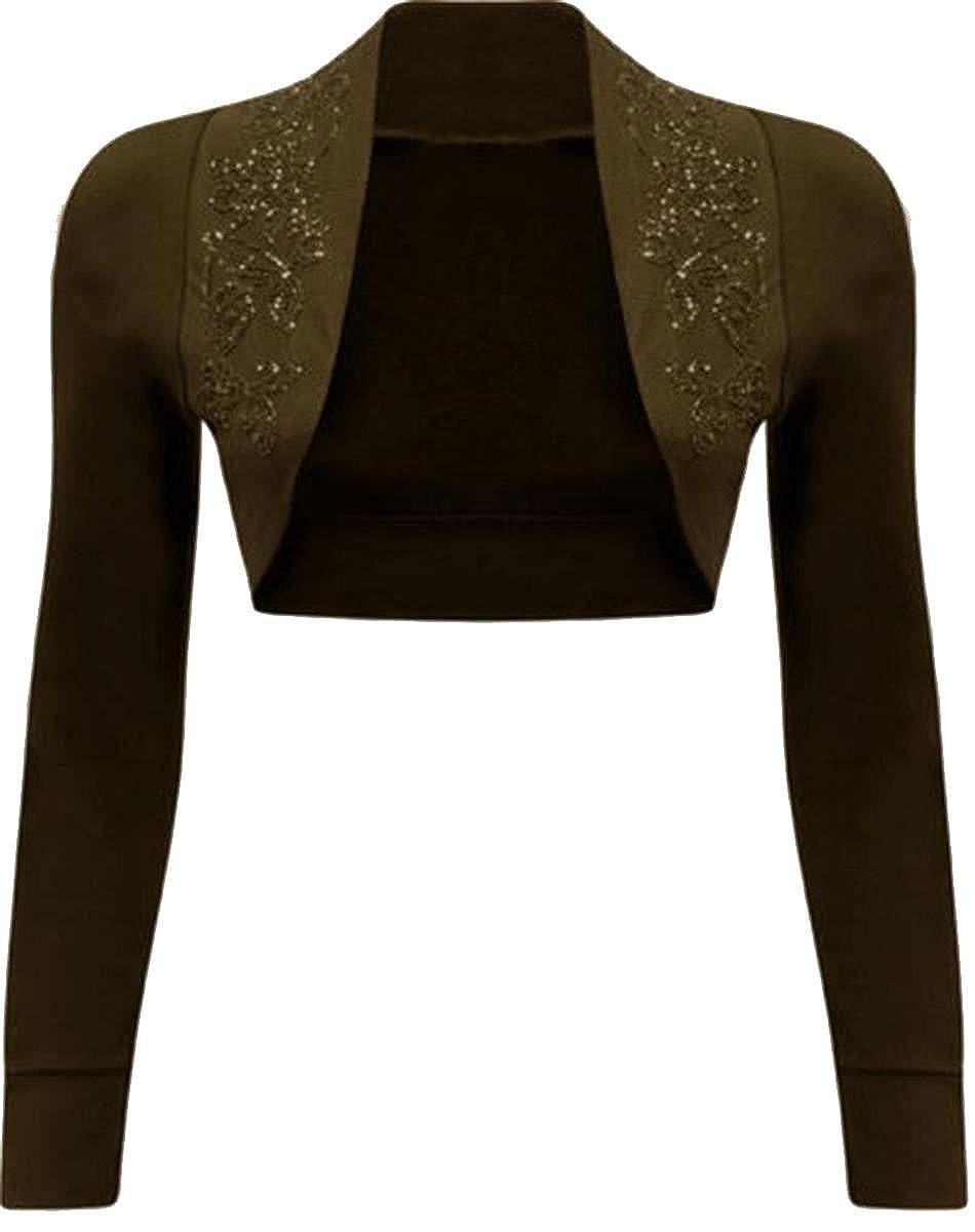 Click Selfie Ladies Embroidery Floral Beaded Design Long Sleeve Shrug Cardigan Tops