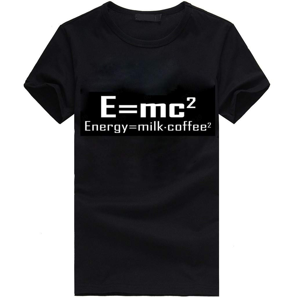 Men's Shirt Fashion Printing Casual T-Shirt Regular Fit Short Sleeve Top (M, Black)