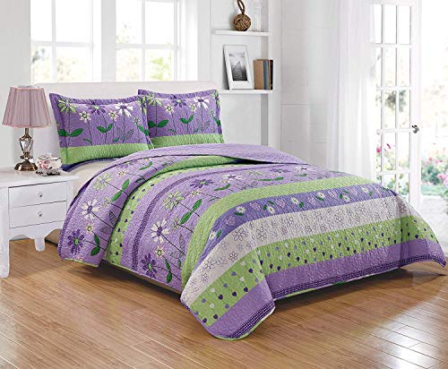 Linen Plus Twin 2pc Bedspread Set for Girls/Teens Flowers Lavender Green Purple New ()