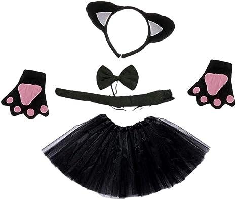 Juego de disfraz de gato – gato negro – niña – tutú – diadema ...