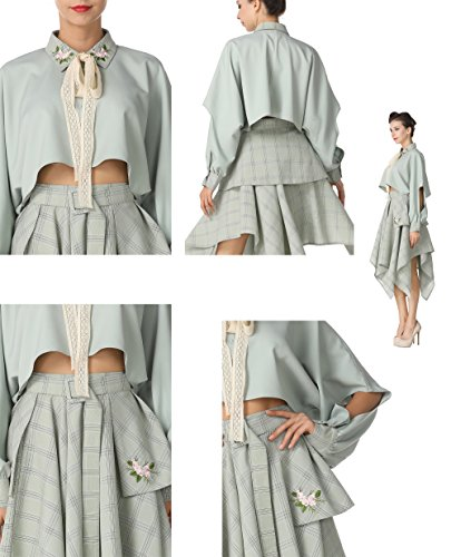 Dresses Button Green Flower Manual Down Pan Retro US M Tag Peter Pleated M Embroidery Collar pzqxwY